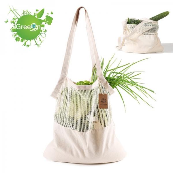 Greeon Eco-vriendelijke Biologisch Katoen Mesh Doek Tas Groente Fruit Shopping Tote Herbruikbare Nul Afval Produceren Opbergtas Wasbare