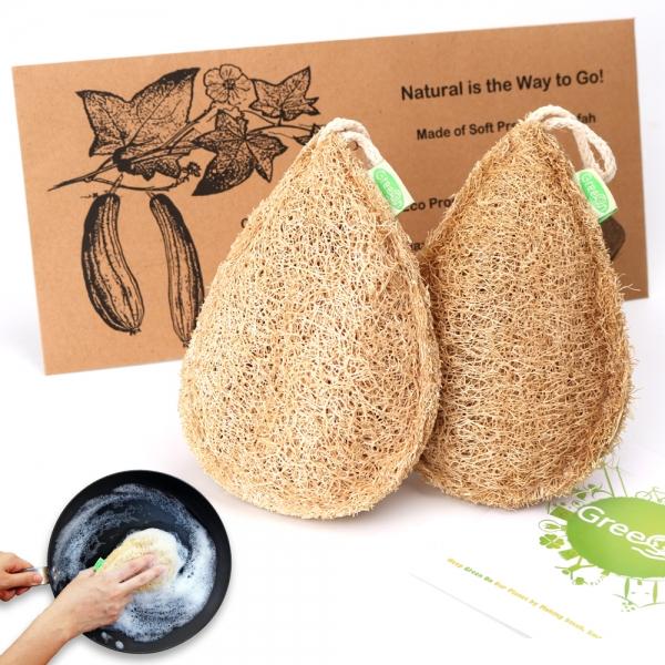 2 Stuks Eco Vriendelijke Natuurlijke Loofah Keuken Spons Multilayer Organische Plantaardige Scrubber Anti-Olie Schotel Kom Pot Schoonmaken Scrub pad